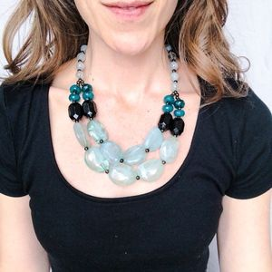 Beaded Statement Necklace – Teal Blue Green Black